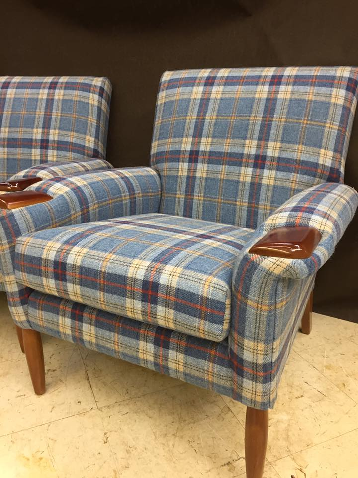 Wooden sofa with plaid design