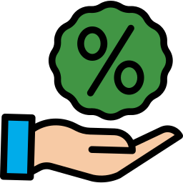 Hand holding a percent sign